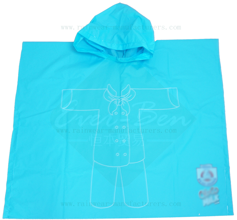 Blue EVA waterproof rain poncho
