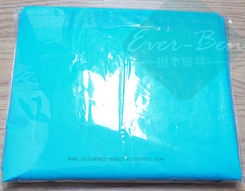 Blue PEVA disposable waterproof poncho packing bag