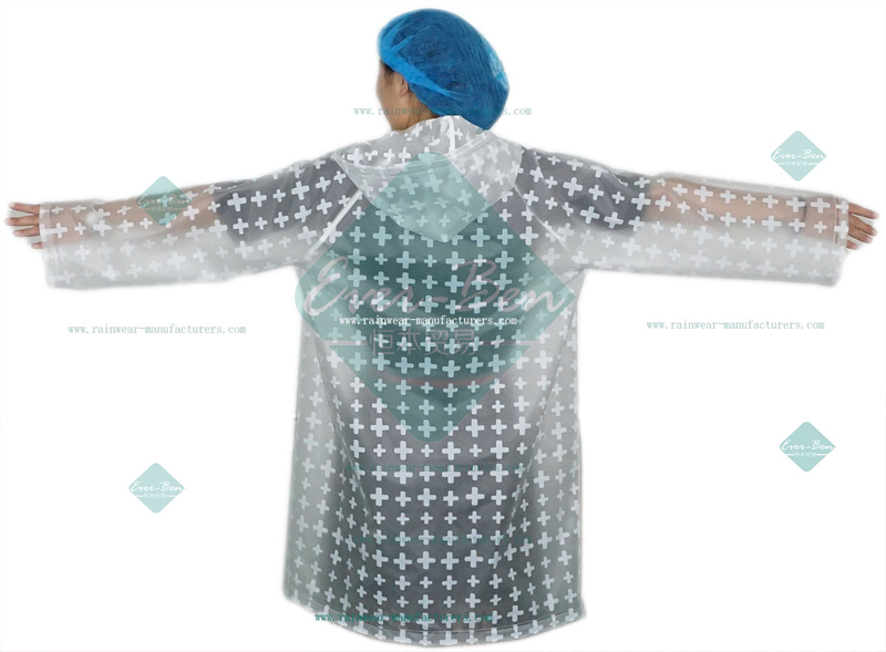 Transparent EVA Raincoat with printing for women