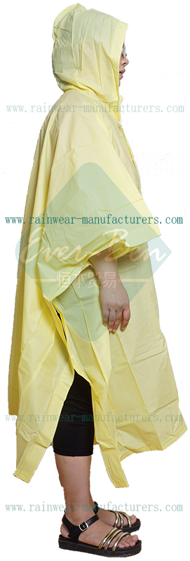 Yellow EVA poncho rain gear supplier
