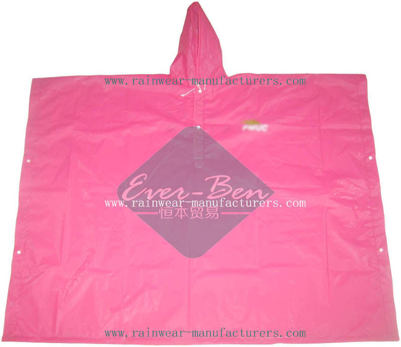Pink Rain Poncho-Pink Waterproof Poncho Supplier
