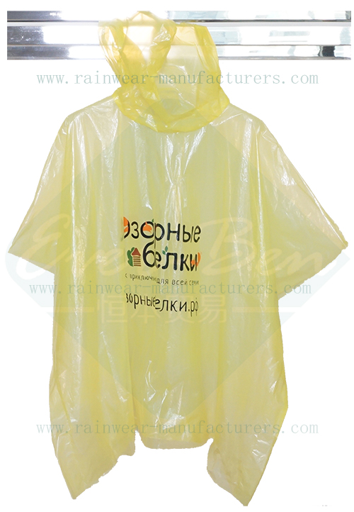 Emergency cheap ponchos-disposable plastic rain mac bulk manufactory