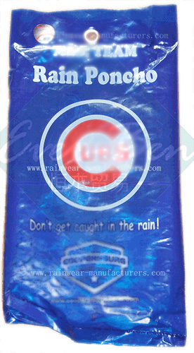 Blue cheap disposable rain ponchos packing pouch