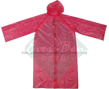 Disposable Red PE Raincoat for Adult
