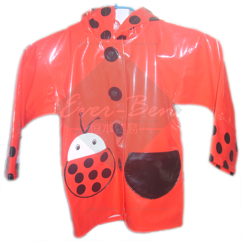 China PU red Raincoat for girls
