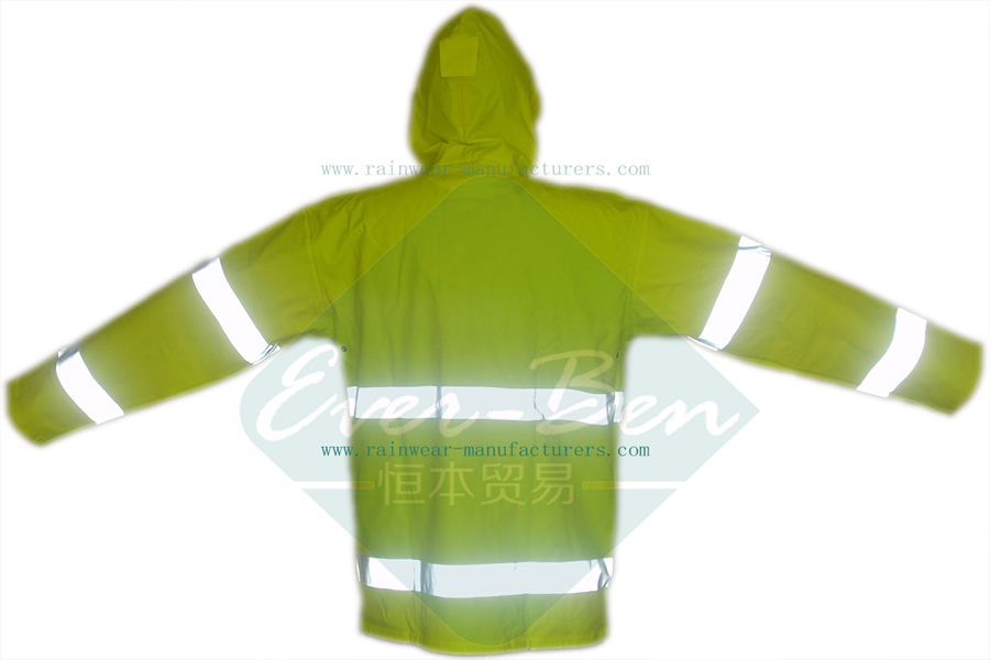 China PU reflective waterproof rain jacket for work supplier