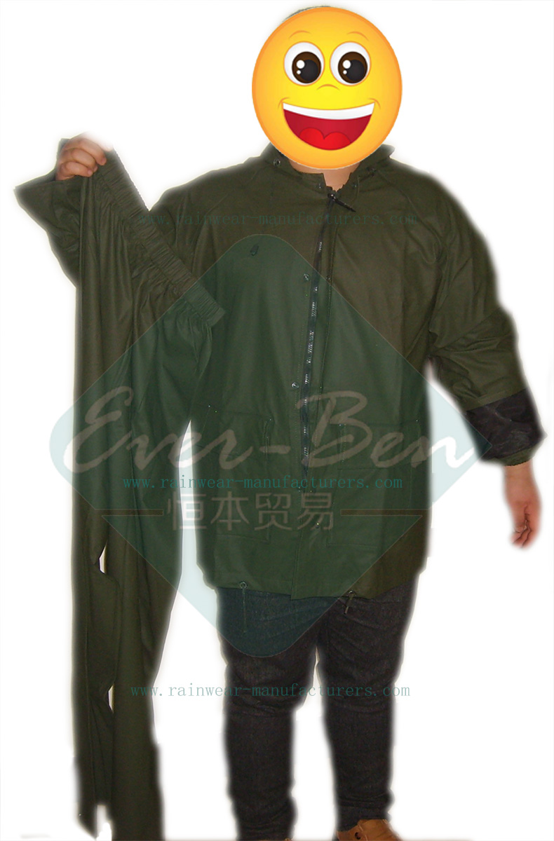 Green rain suit for motorcycle riders