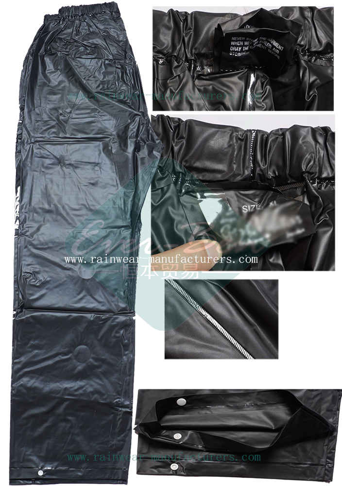 Black PVC Cycling Rain Pants