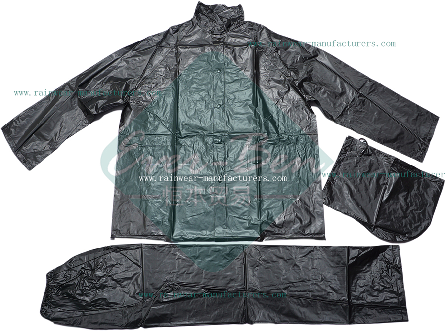 Black PVC Heavy Duty Rain Gear-Black PVC Raincoat-China Black PVC Plastic Macs Adults