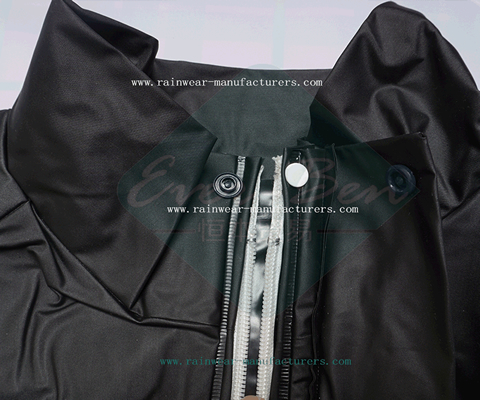 Black shiny raincoat collar-heavy rain coat