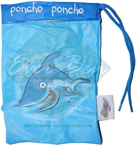 Blue PVC totes rain poncho packed bag