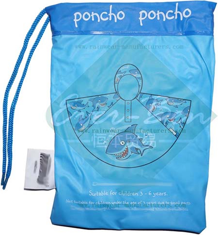 Blue PVC totes rain poncho packing bag