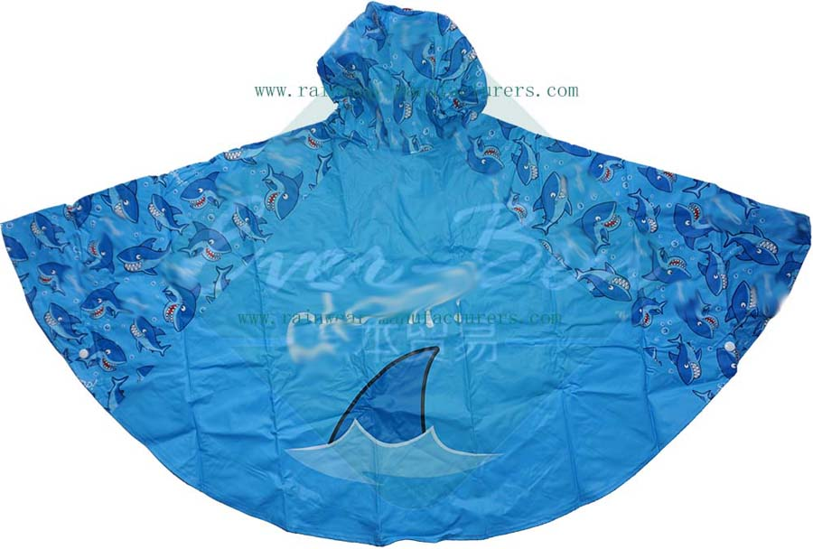 Blue PVC totes rain poncho with full printing