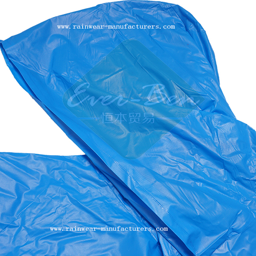 Blue vinyl hooded rain poncho