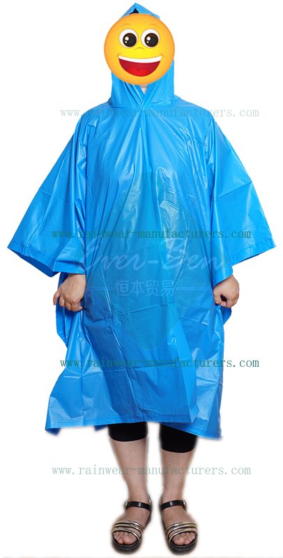Blue waterproof rain poncho supplier