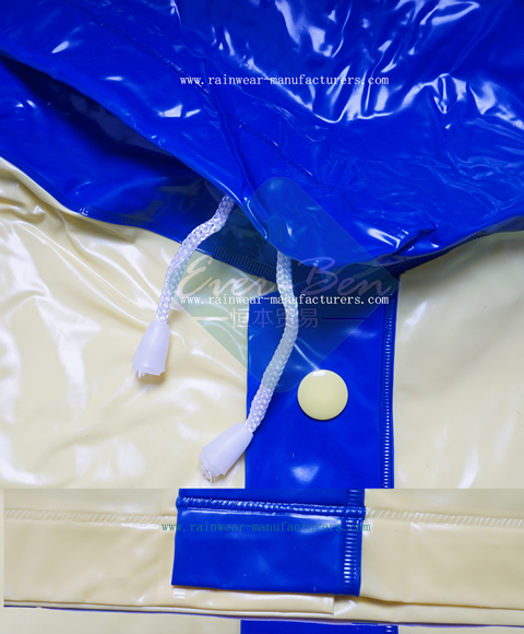 Children PVC shiny raincoat buttons drawing string bottoms