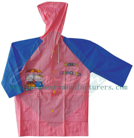 Girls pvc rainwear-Child plastic rain jacket