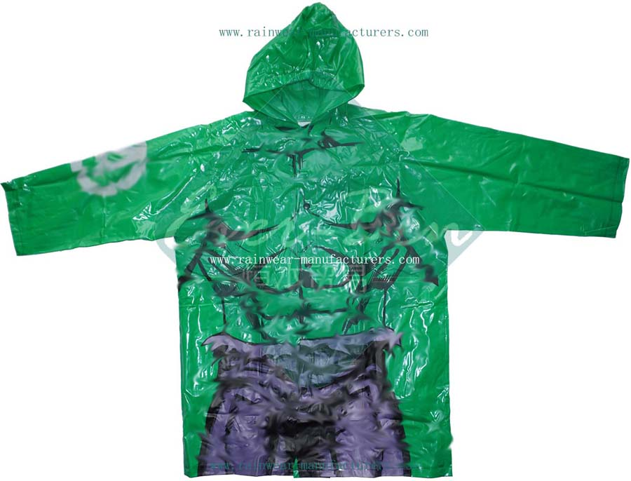 Green PVC boys rain jacket with full printing-Child PVC festival rain mac manufactory