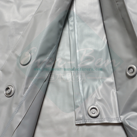 Grey PVC mens pvc raincoat front fly buttons