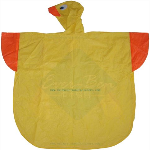 Kids Duck plastic rain poncho-reusable vinyl raincape for child