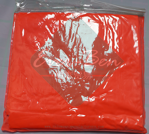 Orange red womens rain poncho packable bag