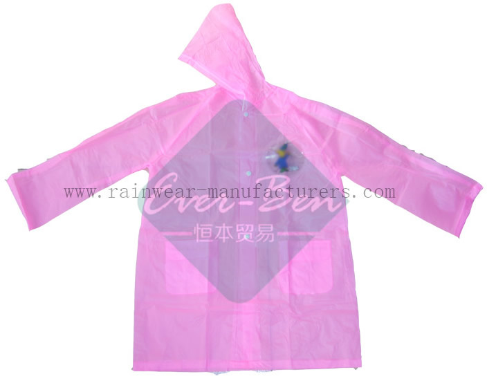 PVC Pink Womens Waterproof Jacket-Ladies Plastic Raincoats-Vinyl Raincoat with Hood