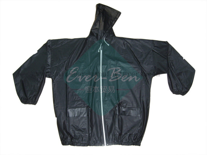 PVC Biker Jacket with full zip-Strong Reusable PVC Rain Gear-Vinyl Raincoat with hood-Mens PVC Raincoat