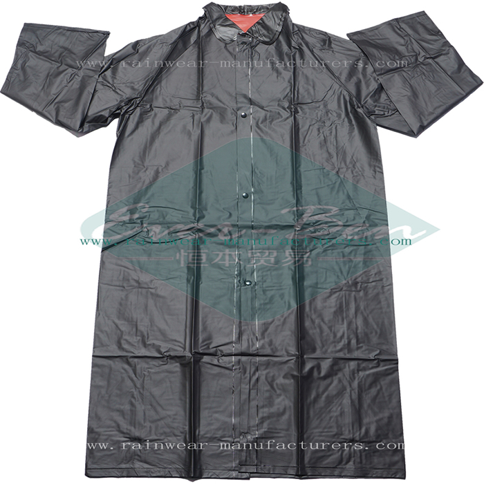 PVC Black Rain Suit-Heavy Rain Coat