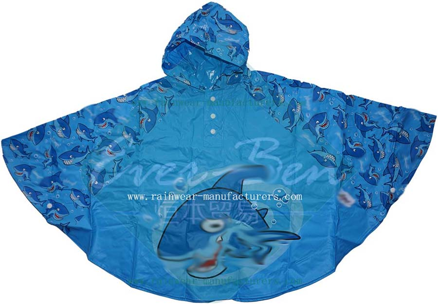 PVC Cool Rain Ponchos for children with all over printing
