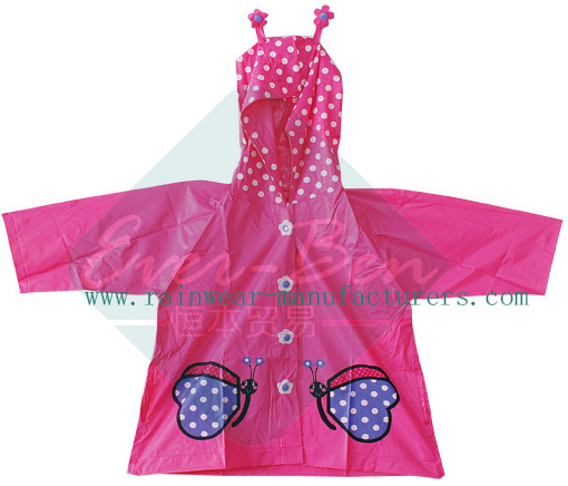 PVC Cute Rain Jackets-Pink Color Toddler Rain Jacket Manufactory