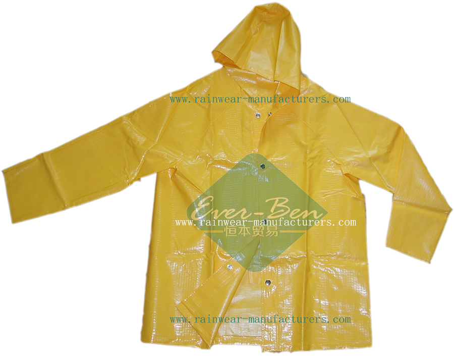 PVC heavy duty rain suits-PVC rain jacket-Strong reusable pvc rain gear