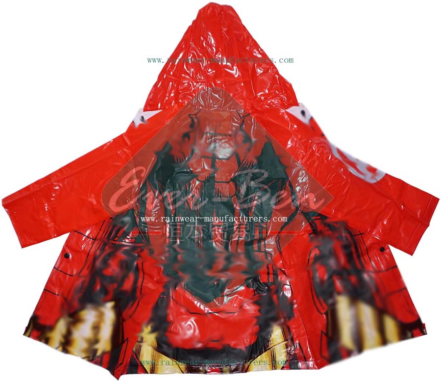 PVC Kids Raincoats with Large Printing-Boys Red PVC Festival Rain Mac Manufactory