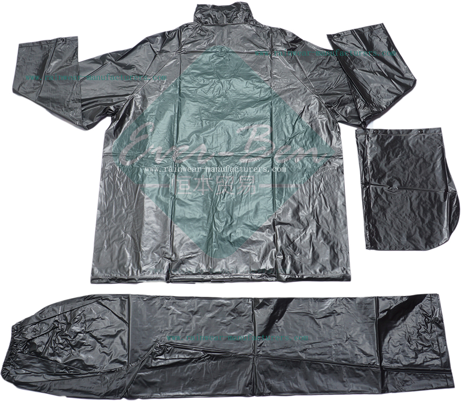 PVC motorcycle rain gear for men-black rain gear