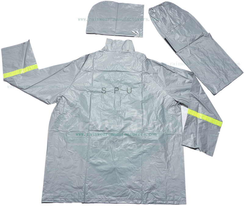 PVC rain suit for motorcycle riders with reflective tape