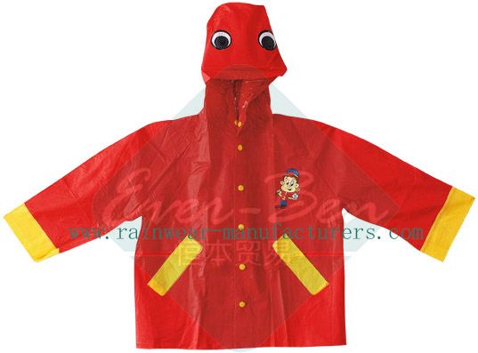 PVC Rains Parka for Kids with Animal Pattern-Toddler Rain Jacket Wholesaler