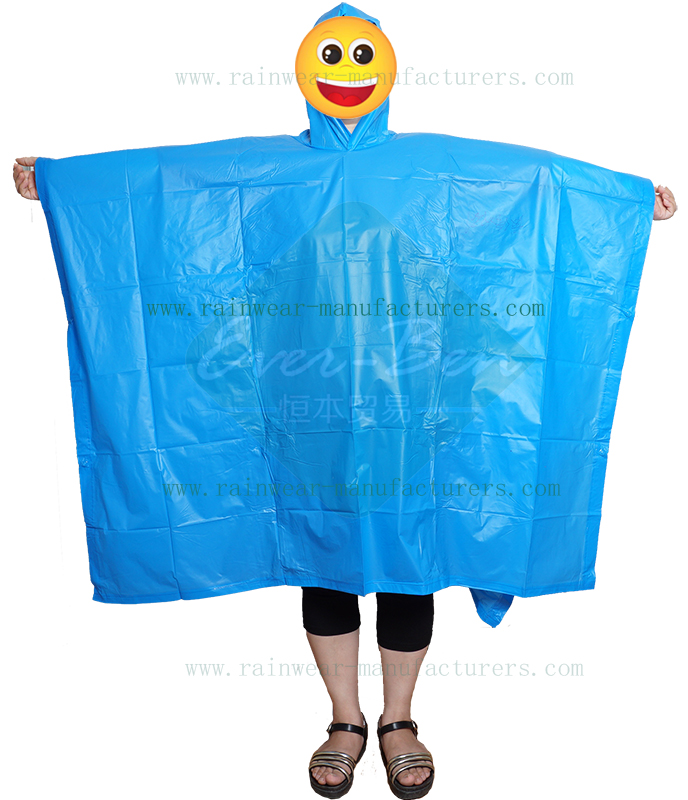 PVC waterproof cape poncho blue color