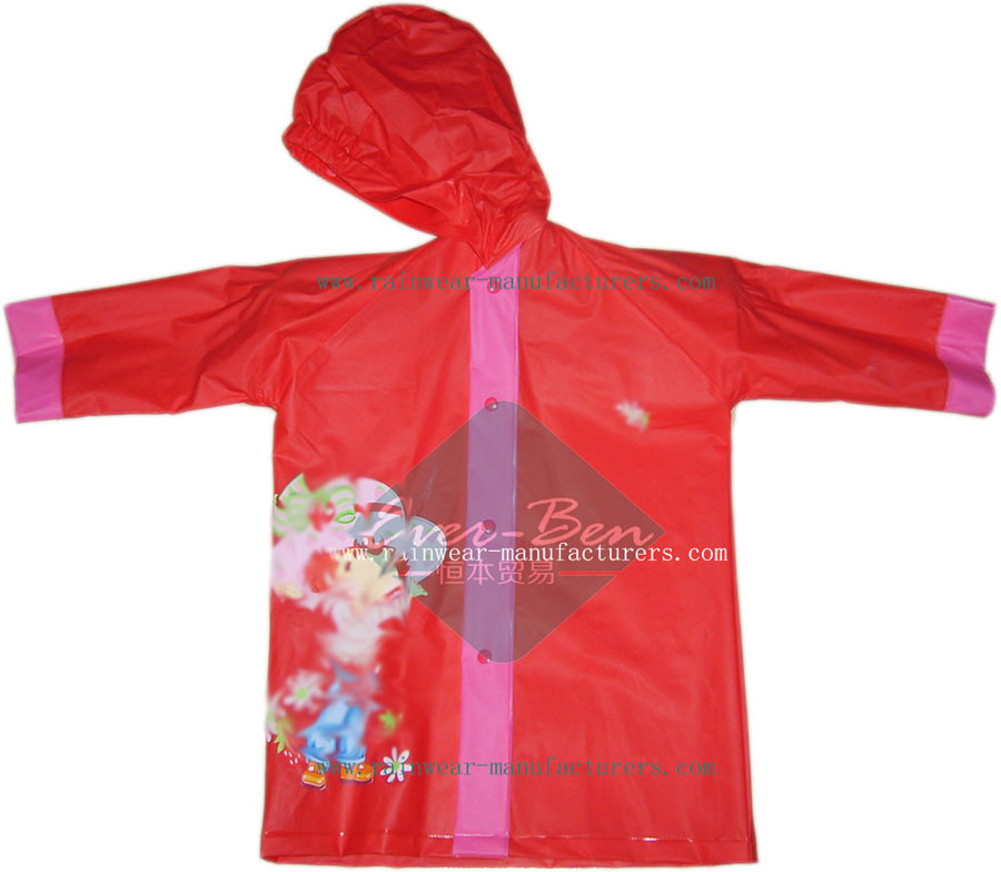 Red Children's Strong Reusable PVC Rain Gear