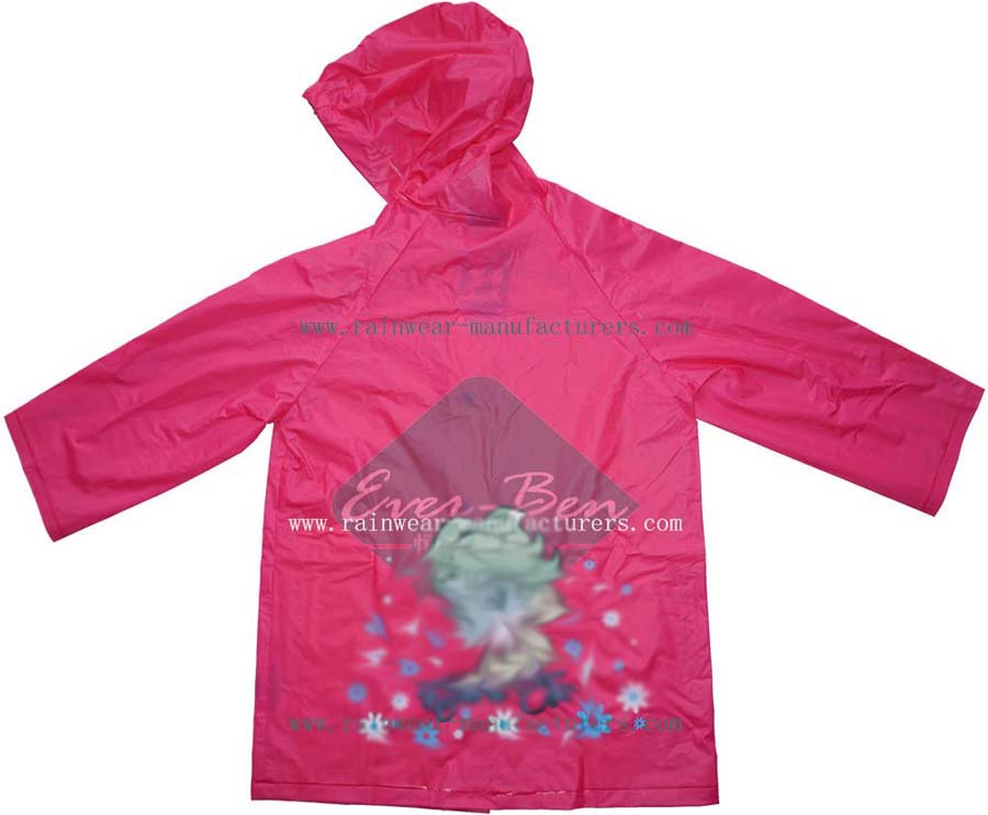 Kids Raincoats 001-Red PVC Girls Raincoats|Kids Rain Jacket