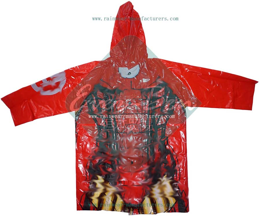 Red pvc raincoat for  girls-vinyl raincoat with hood