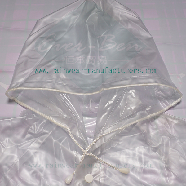 Reusable PVC clear rain mac drawing string hood