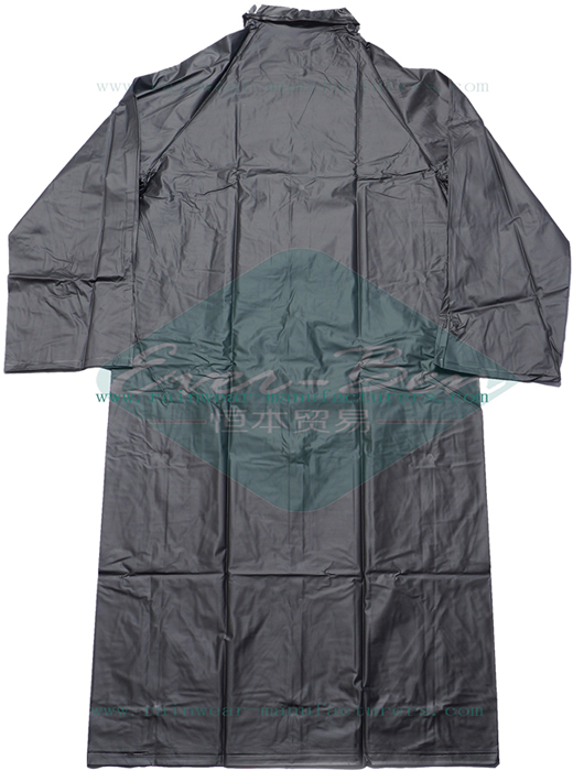 Reusable pvc raincoat with hood-black plastic raincoat
