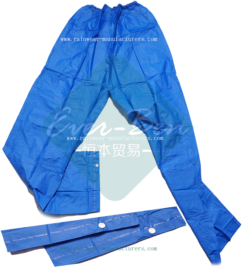 Strong Reusable Blue PVC mens rain pants for motorcycles