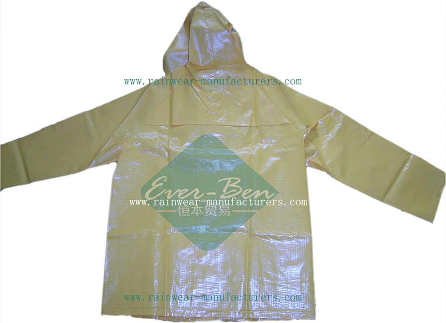 Strong reusable pvc rain gear jacket-heavy rain coat