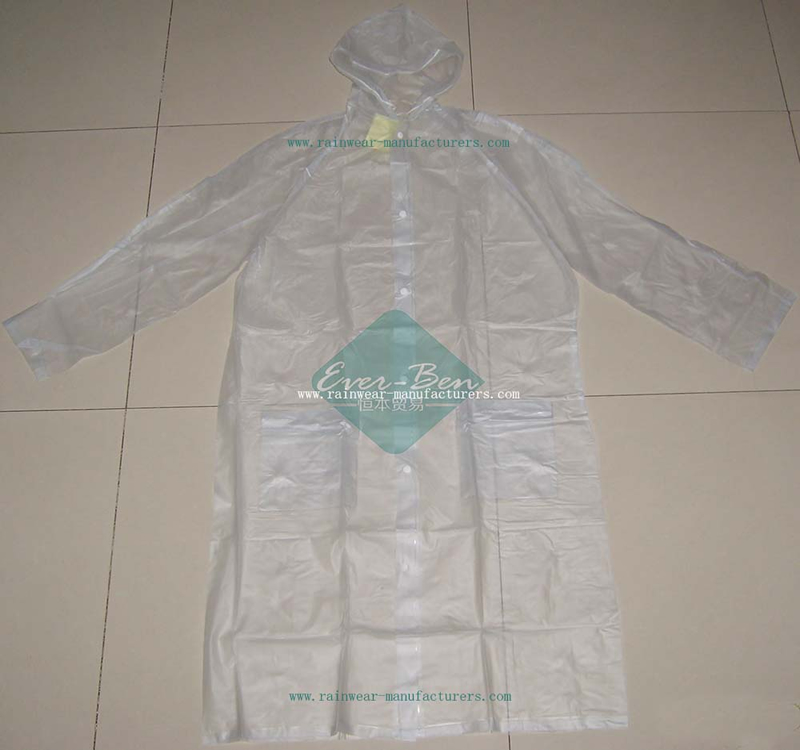 Transparent PVC Rain Suit-Transparent PVC Clear Plastic Mac-Lightweight Raincoat