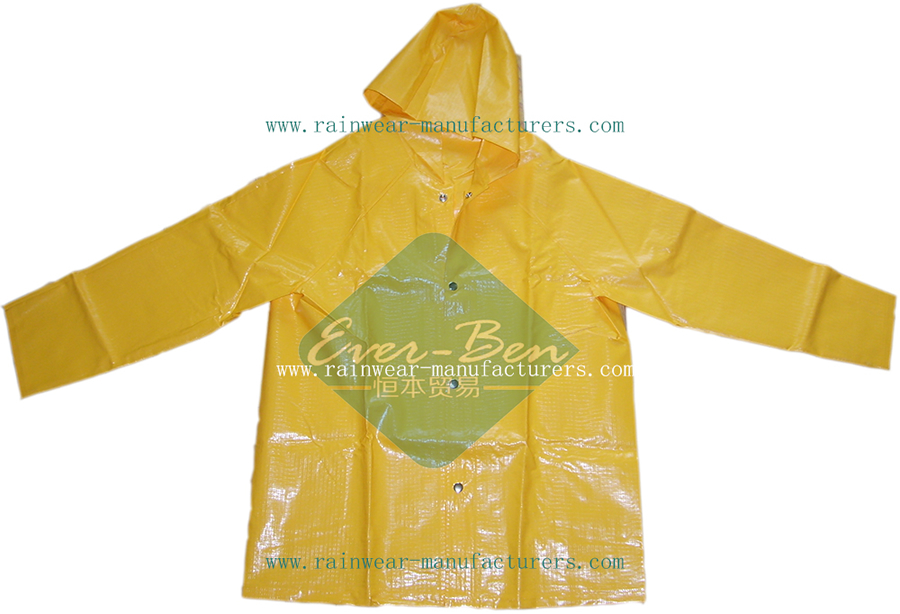 Yellow PVC Heavy Duty Rain Gear-Plastic Hooded Rain Mac Supplier-Heavy Duty Rain Gear for Work