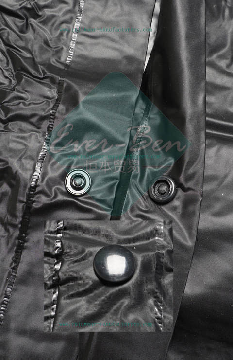 black pvc raincoat front fly button