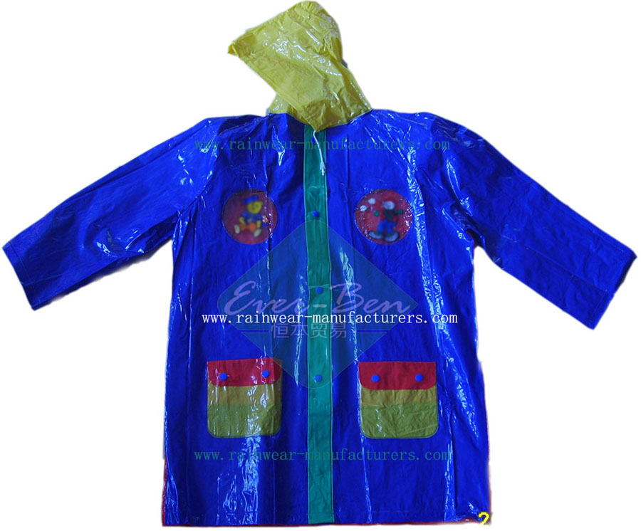 children raincoat multicolor-womens pvc raincoat-festival rain mac wholesaler