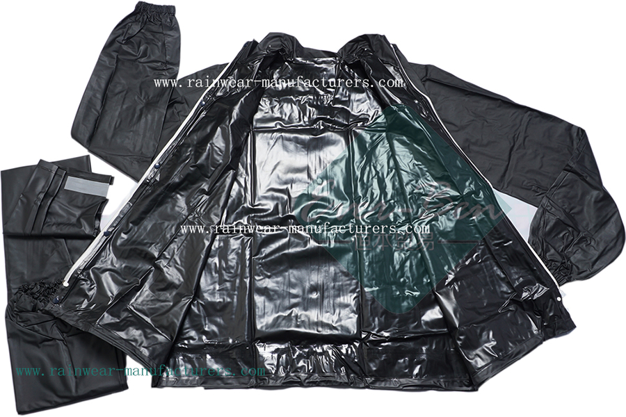 mountain bike waterproof jacket-bike waterproof pant-motorcycle rain gear-heavy duty rain gear for work-black pvc mac