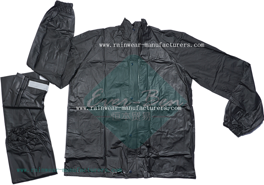 packable waterproof cycling jacket-Black PVC rain jacket-Black PVC Rain Pant-black PVC rainwear with reflective tape