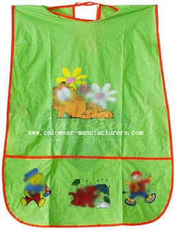 green PVC cute kids aprons-Green Apron for children